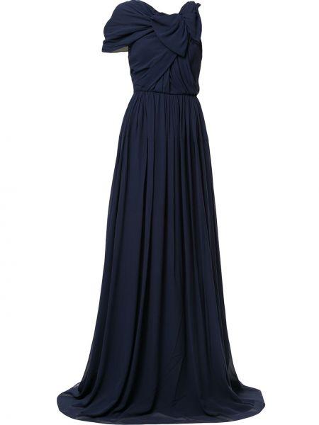 Синее расклешенное шелковое платье мини с драпировкой Delpozo