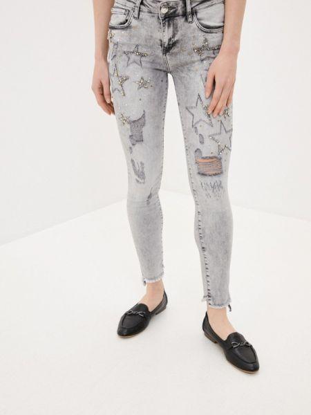 Серые джинсы-скинни с пайетками D'she