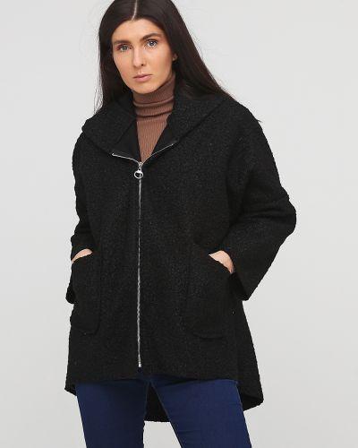Черное пальто с капюшоном букле No Brand