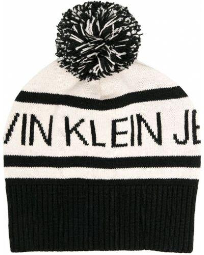 Акриловая черная шапка бини эластичная Calvin Klein Kids