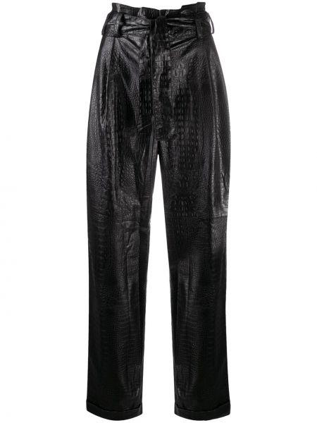Брючные черные брюки с карманами с высокой посадкой Amen.