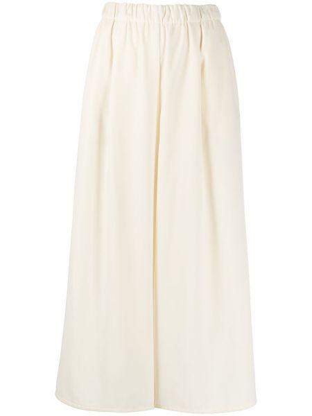 Białe spodnie z wysokim stanem z wiskozy Dusan