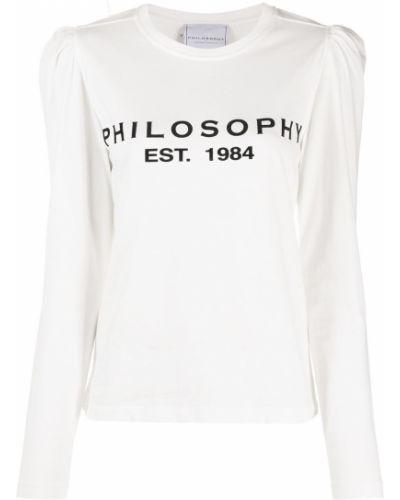 Белый хлопковый джемпер с вышивкой с вырезом Philosophy Di Lorenzo Serafini