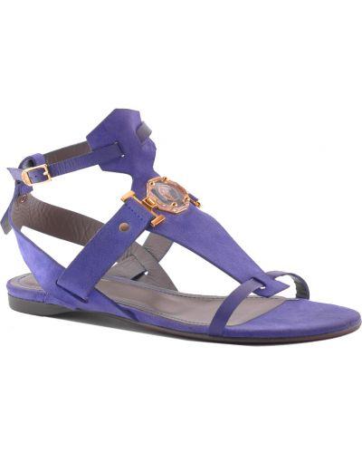 Кожаные сандалии - фиолетовые Versace
