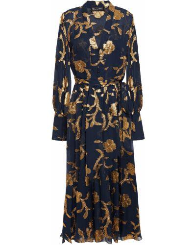 Шелковое синее платье миди с поясом Oscar De La Renta