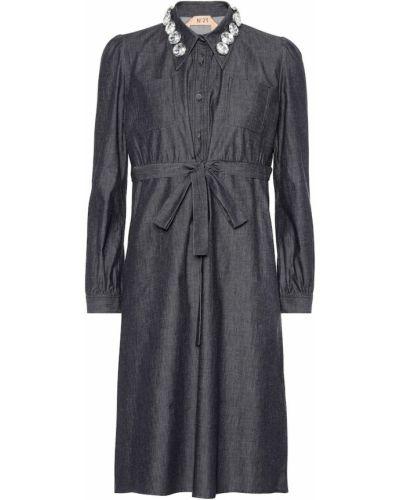 Джинсовое платье с капюшоном N°21