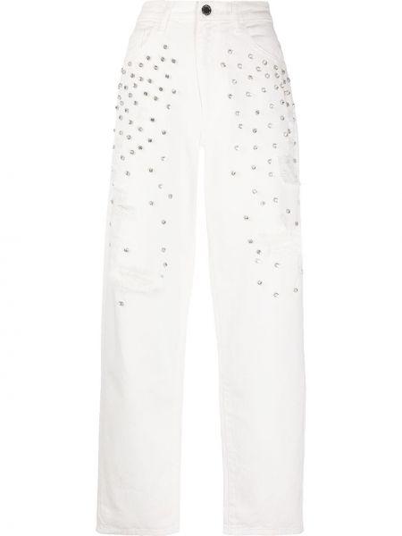 Розовые джинсы со стразами с карманами Pinko