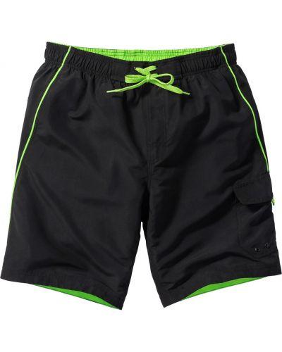 Черные плавки-боксеры с карманами на шнуровке Bonprix