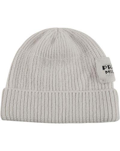 Beżowa czapka beanie Prada
