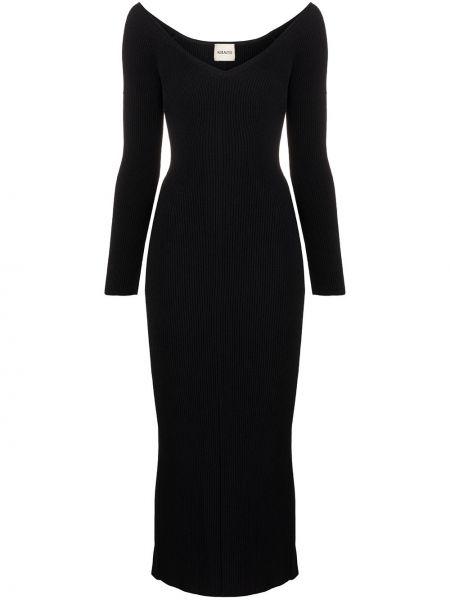 Черное трикотажное платье макси Khaite