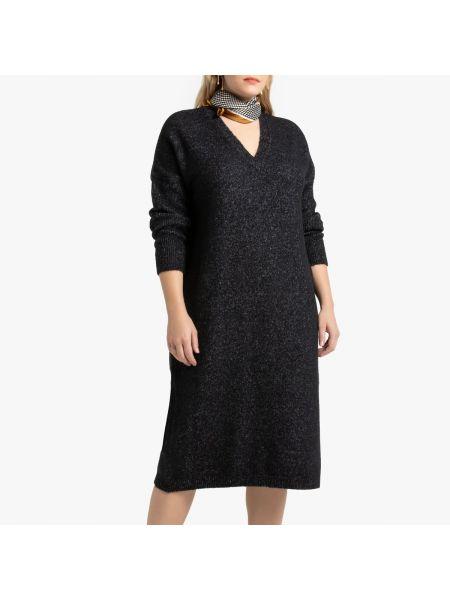 Платье миди в рубчик с V-образным вырезом La Redoute
