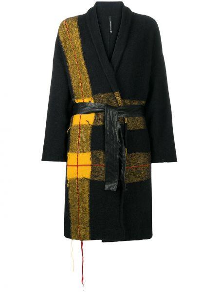 Шерстяное черное длинное пальто в клетку Pierantoniogaspari