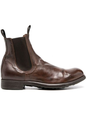 Brązowy skórzany buty okrągły nos Officine Creative