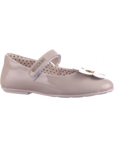 Бежевые туфли лаковые Moschino