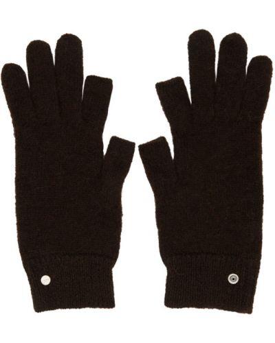 Brązowy rękawiczki z mankietami z moheru Rick Owens