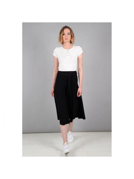 Черная расклешенная юбка миди в рубчик с поясом Molly Bracken