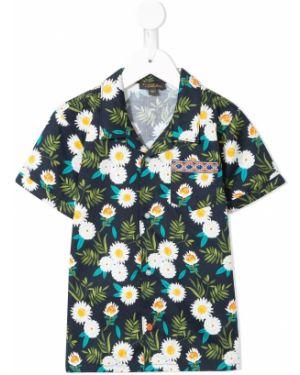 Klasyczna koszula krótki rękaw bawełniana z haftem Velveteen