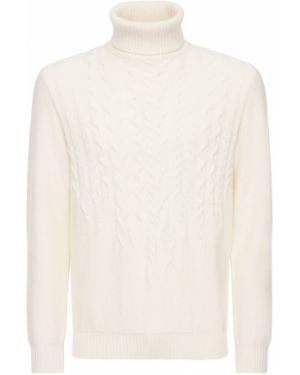 Prążkowany beżowy z kaszmiru sweter Piacenza Cashmere