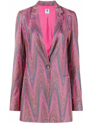 Розовый удлиненный пиджак с карманами с воротником M Missoni