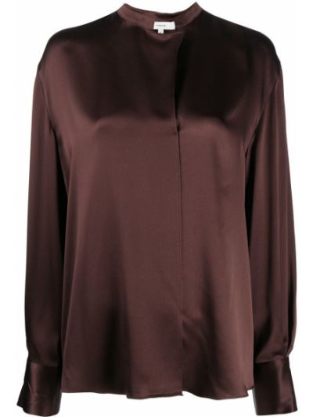 Шелковая коричневая прямая блузка с длинным рукавом с воротником Vince.