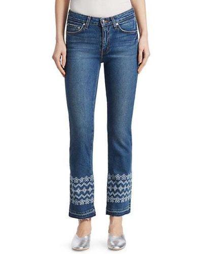 Хлопковые джинсы с карманами с вышивкой Derek Lam