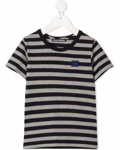 Niebieski t-shirt w paski bawełniany Acne Studios Kids