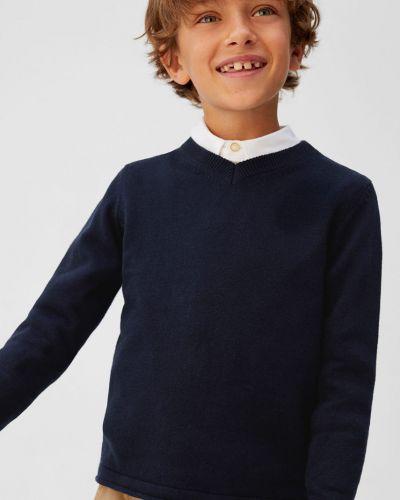 Свитер однотонный синий Mango Kids