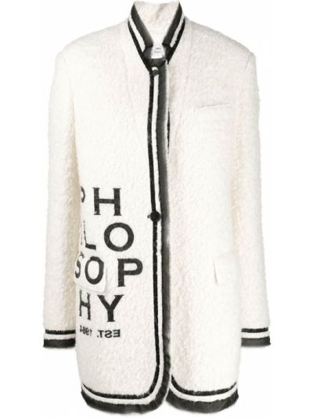 Шерстяное белое пальто с воротником Philosophy Di Lorenzo Serafini