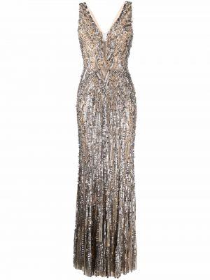 Beżowa sukienka bez rękawów Jenny Packham