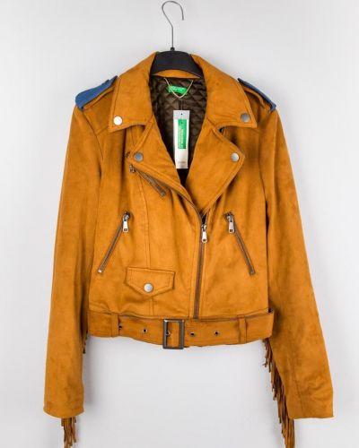 Замшевая кожаная куртка с бахромой United Colors Of Benetton