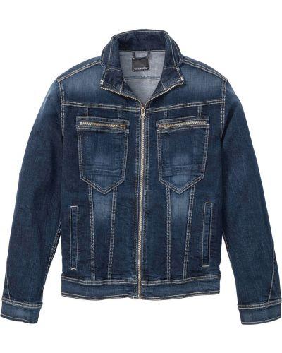 Джинсовая куртка на молнии темно-синяя Bonprix