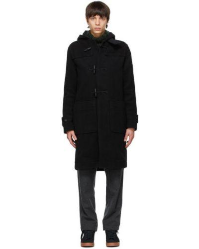 Czarny długi płaszcz wełniany z kapturem Wood Wood