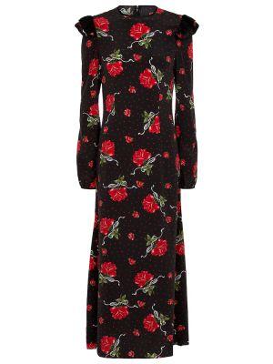 Шелковое платье миди - черное Rodarte