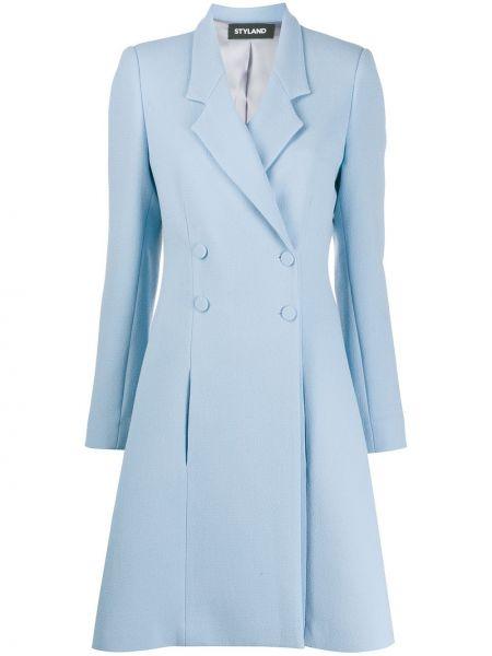 Шерстяное длинное пальто с капюшоном двубортное Styland