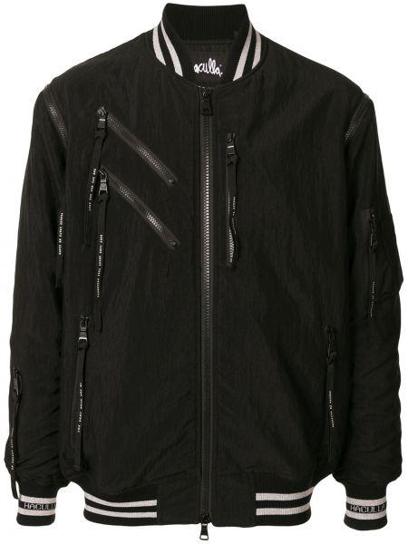 Prążkowana czarna długa kurtka z długimi rękawami Haculla