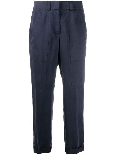 Синие зауженные брюки с воротником из вискозы Peserico