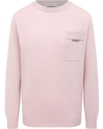 Розовый кашемировый пуловер Brunello Cucinelli