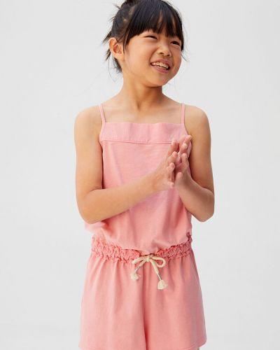Комбинезон розовый со складками Mango Kids