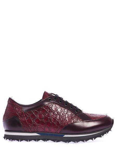 Красные комбинированные кроссовки из крокодила со вставками Zilli