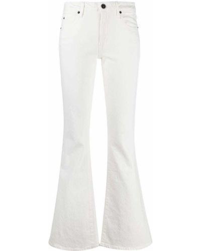 Хлопковые белые расклешенные джинсы на пуговицах с высокой посадкой Slvrlake