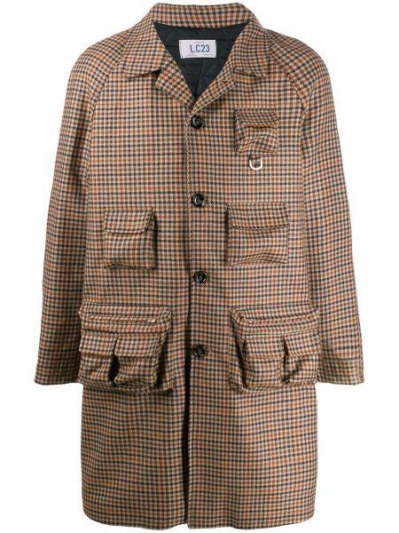 Brązowy płaszcz wełniany z długimi rękawami Lc23