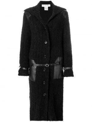 Czarny płaszcz wełniany z paskiem Christian Dior Pre-owned