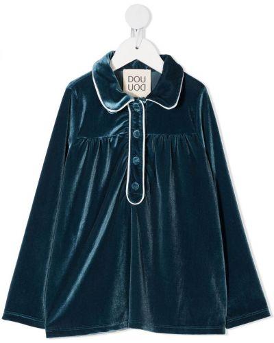 Niebieska bluzka z długimi rękawami z aksamitu Douuod Kids