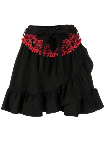С завышенной талией черная юбка мини с запахом с оборками Stella Jean