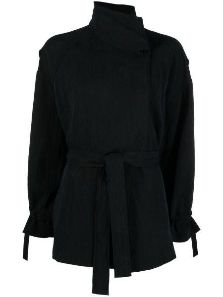 Черная куртка с поясом с высоким воротником Barena