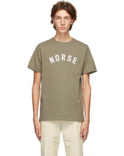 Zielony bawełna koszula krótkie z krótkim rękawem z kieszeniami z łatami Norse Projects