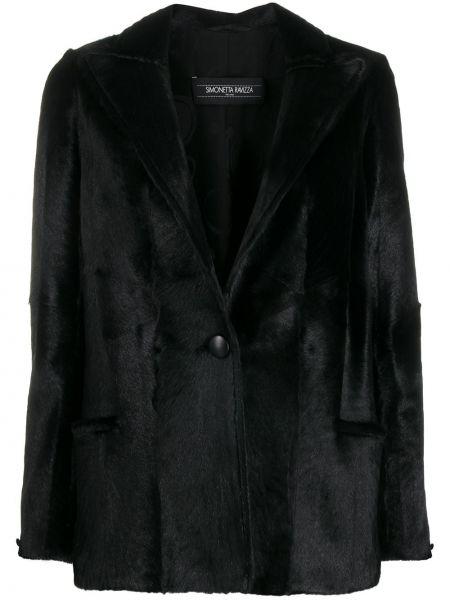 Шелковый черный классический пиджак с накладными карманами Simonetta Ravizza