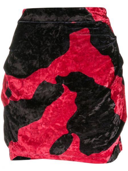 Плиссированная черная с завышенной талией юбка мини с драпировкой Marcelo Burlon. County Of Milan