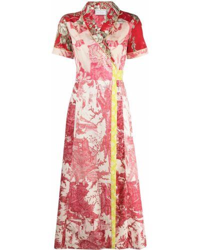 С рукавами красное платье мини с запахом Pierre-louis Mascia