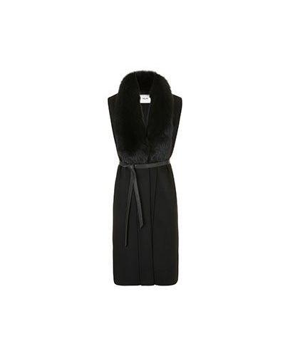 Черная шерстяная жилетка с мехом Max & Moi